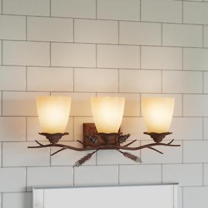 3-Light Weathered Spruce Vanity Light with Sunset Glass Shades Lodge Hampton Bay