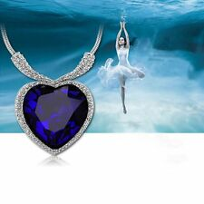 Fashion Large Necklace White Gold Filled Heart of OCEAN Blue Sapphire CZ Crystal