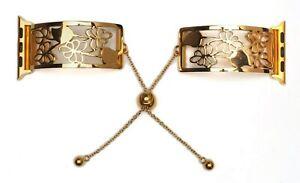 Apple Watch Strap Stainless Steel Flowers Bracelet Slide Clasp Series 4 3 2 1