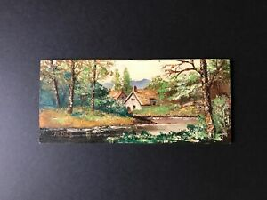 """9"""" x 4"""" Vintage Oil Painting of Houses in a Lake Setting on Wood Panel signed"""