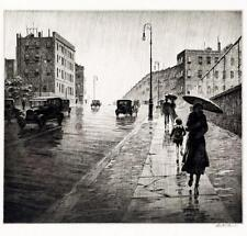 Rainy Day Queens NY  : Martin Lewis : Home Decor Art Print: Drypoint etching