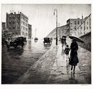 Rainy Day Queens NY  : Martin Lewis : Circa 1931  :   Art Print