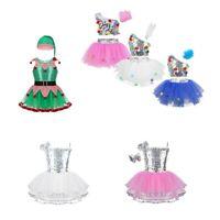 Kids Girl Sequins Fairy Costume Jazz Ballet Dance Outfits Xmas Leotard + Hat Set