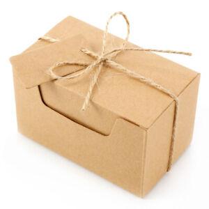 50x Rectangle Kraft Paper Box Cupcake Gifts Guest Party Banquet Bar Supplies