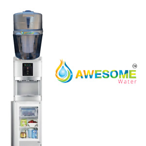 AWESOME WATER® - SILVER - HOT,COLD & AMBIENT - FLOOR STANDING COOLER WITH FRIDGE