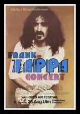 "Framed Vintage Style Rock 'n' Roll Poster ""FRANK ZAPPA CONCERT""; 12x18"