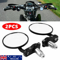 2PCS Universal Motorcycle Handle Bar End Mirrors Motorbike Side Rearview Mirrors