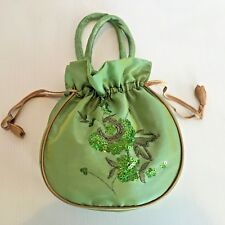 Sequined Spring Green Drawstring Handbag Small Purse Lime w/ Gold Trim  Bag 8x7""