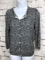 J.Crew Silk Linen Button Front Cardigan Sweater 3/4 Long Sleeve Black Abstract M