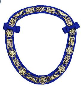 Masonic Chain Collar Lodge Regalia Royal Blue Gold Metal