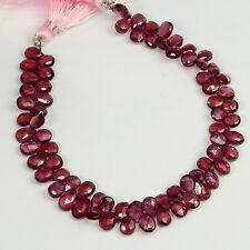 Rhodolite Garnet Faceted Pear Briolette Beads 7.5 inch Strand