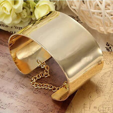 Gold Silver Fashion Metallic Tone Chained Wide Bracelet Bangle Cuff Plated