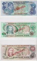 BN12) Philippines 1978 set of 6 Uncirculated SPECIMEN Banknotes 2 – 100 Pisos