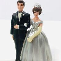 Vintage Wilton Cake Topper Wedding Bride Groom Silver Brunette