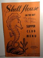 Shell House Defunct Restaurant SIGNED Menu Vtg Scarce Rare Long Island Park NY
