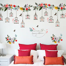 Flower Vine Bird Cage Wall Stickers Window Decal Home Decor Mural Art Stickers
