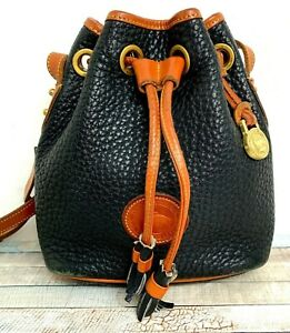 Dooney & Bourke BLACK BROWN GENUINE LEATHER TASSELS SHOULDER BAG X-BODY BUCKET