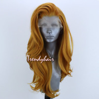 Gold Yellow Burnt Pumpkin Natural Wavy Synthetic Lace Front Wig Long Hair HeatOK
