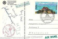 NEPAL GERMANY 1974 *Mail Runner*MOUNT LHOTSE EVEREST EXPEDITION LENSER SIGN CARD