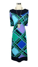 LEONA EDMISTON Dress - Geometric Retro Aqua Blue Green Mauve Stretch Midi - 8/10