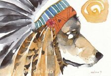 "ACEO Giclee PRINT watercolor 2.5"" x 3.5"" DelRio spirit totem Wolf 'WAR BONNET'"