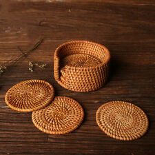 6Pcs/Set Vintage Rattan Coasters With Basket Handmade Woven Drink Mats Placemats