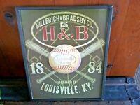 "Rare Vintage Louisville Slugger H&B Hillerich & Bradsby Baseball Bat Sign 14x18"""