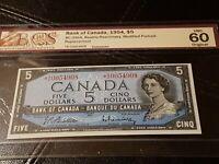 ➡➡1954 ASTERISK *R/C 0054908 1954 $5 CANADA BILL NOTE BC-39bA BCS 60 UNC