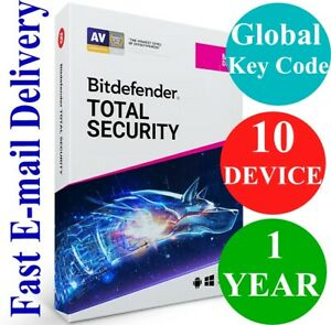 Bitdefender Total Security 10 Device 1 Year (Unique Global Activation Code) 2021