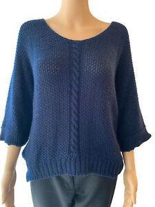 NEW Womens Knitted Jumper Dress Ladies Top Round Neck Free Size 10 12 14 16 Blue