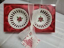 New Colonial Williamsburg Porcelain Lattice Candy Bowls Set of 2 Holliday