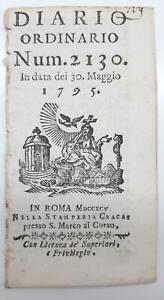 Roma Diario ordinario numero 2130 30 maggio 1795 Stamperia Cracas