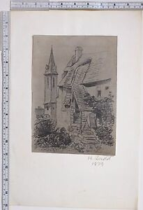 1879 ORIGINAL ARTWORK DRAWING SKETCH by H. BUDD