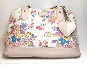 Betsy Johnson Handbag Purse Floral Print White Shoulder Bag Flowers Zipper