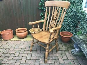 vintage farmhouse country classic windsor chair high slat back wide saddle seat