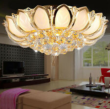 Lotus Shape Real K9 Crystal Glass Gold Ceiling Lights Chandeliers Lighting Lamps