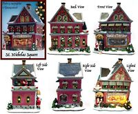 St Nicholas Square Santas Toy Shop Musical Light Up 1 Snow Village House Retired