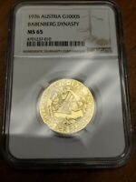 1976 Austria 1000 Schilling Babenburg Dynasty Gold Coin NGC MS 65