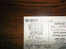 1965 Ford Mustang Series Models 260 CI V8 SUN Tune Up Chart Great Condition!