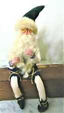 lot 2~ Primitive Handmade Santa Claus & Elf ~Sits Up~wire in body for adjustment
