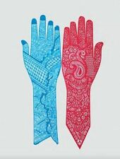 4 Henna Reusable Rubber Full Hand Stencils For Henna Temporary Tattoos