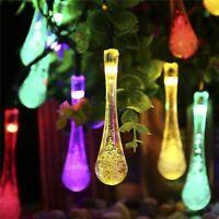 30 LED Water Drop Solar Power String Light Outdoor Garden Xmas Party Decor Lamp