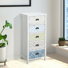 Storage Chest Unit Dresser 5 Drawer Storage Desktop Wood White Entryway