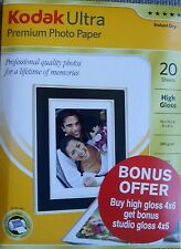 "NEW 20 SHEETS KODAK ULTRA PREMIUM HIGH GLOSS 6 x 4 "" PHOTO PAPER 280GSM"