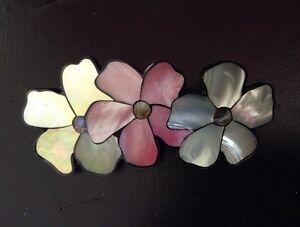 Handmade Genuine Tropical Abalone Shell Hair Barrette Triple flowers
