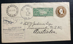1928 Kitty Hawk NC Usa First Flight Airmail Cover FFC To Tooraweenah Australia
