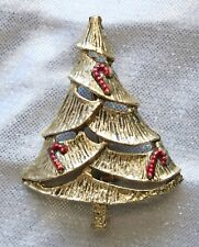Festive B.J. Gold-tone Candy Cane Christmas Tree Brooch 1960s vintage
