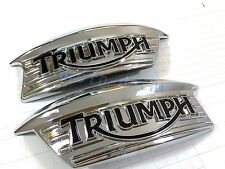 Triumph T100 Classic Bonneville Thruxton 900 Chrome Tank Plastic Badge Decals