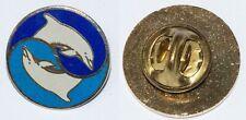 "Porpoise Yin Yang Clip back - 0.75"" diameter bright enameled metal"