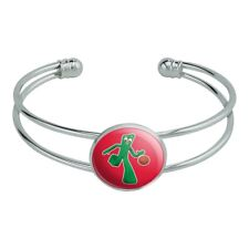 Sporty Gumby Basketball Player Clay Art Silver Plated Metal Cuff Bracelet